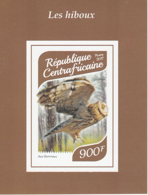 Central African Republic 2017 Owls #1 imperf deluxe sheet unmounted mint. Note this item is privately produced and is offered purely on its thematic appeal.