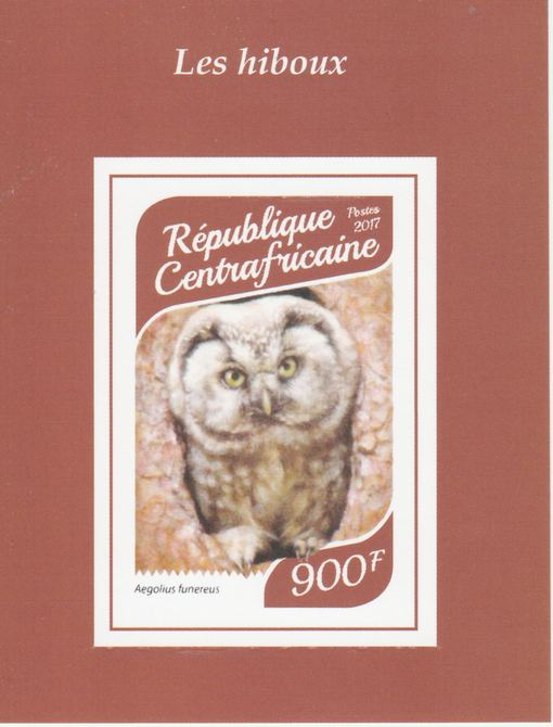 Central African Republic 2017 Owls #4 imperf deluxe sheet unmounted mint. Note this item is privately produced and is offered purely on its thematic appeal.