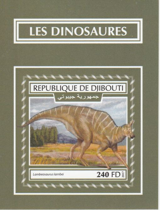 Djibouti 2017 Dinosaurs #1 imperf deluxe sheet unmounted mint. Note this item is privately produced and is offered purely on its thematic appeal.