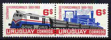 Uruguay 1969 Railway Centenary se-tenant set of 2 unmounted mint, SG 1401a