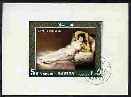 Ajman 1969 The Clothed Maya by Goya 5R imperf individual m/sheet fine cto used Michel BL119