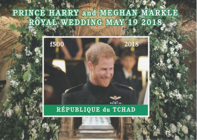 Chad 2018 Royal Wedding #2 Harry & Meghan imperf deluxe sheet unmounted mint. Note this item is privately produced and is offered purely on its thematic appeal, it has no postal validity