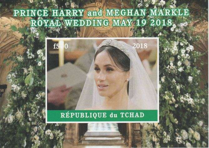 Chad 2018 Royal Wedding #3 Harry & Meghan imperf deluxe sheet unmounted mint. Note this item is privately produced and is offered purely on its thematic appeal, it has no postal validity