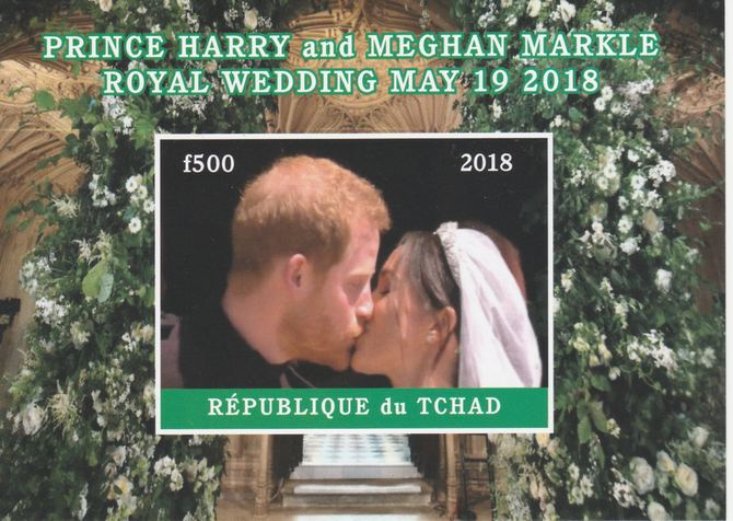 Chad 2018 Royal Wedding #4 Harry & Meghan imperf deluxe sheet unmounted mint. Note this item is privately produced and is offered purely on its thematic appeal, it has no postal validity