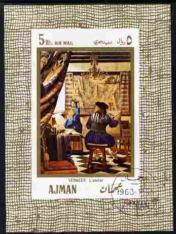 Ajman 1968 The Art of Painting by Vermeer 5R imperf individual m/sheet fine cto used Michel BL25