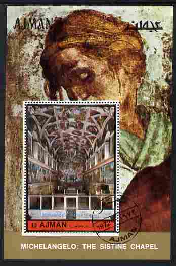 Ajman 1972 Sistine Chapel by Michelangelo 1r25 perf individual m/sheet fine cto used Michel BL406A