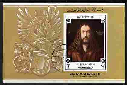 Ajman 1972 Self Portrait by Albrecht Durer 5R imperf individual m/sheet fine cto used Michel BL371
