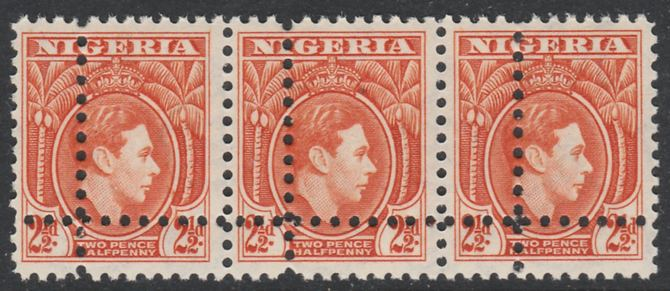 Nigeria 1938-512 KG6 2.5d orange horizontal strip of 3 with perforations doubled (as SG 52b) unmounted mint. Note: the stamps are genuine but the additional perfs are a slightly different gauge identifying it to be a forgery.