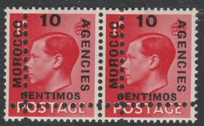Morocco Agencies - Spanish Currency 1936-37 KE8 10c on 1d horizontal pair with perforations doubled (as SG 161) unmounted mint. Note: the stamps are genuine but the additional perfs are a slightly different gauge identifying it to be a forgery.