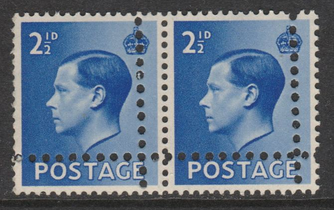 Great Britain 1936 KE8 2.5d horizontal pair with perforations doubled (stamps are quartered) unmounted mint. Note: the stamps are genuine but the additional perfs are a slightly different gauge identifying it to be a forgery., stamps on , stamps on  ke8 , stamps on