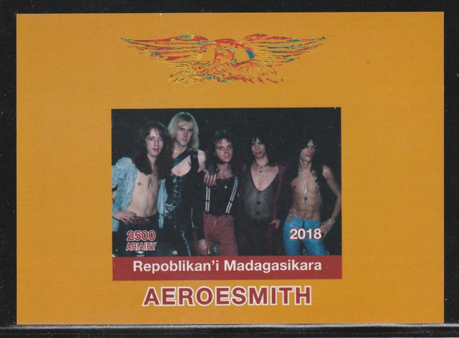 Madagascar 2018 Aeroesmith imperf souvenir sheet unmounted mint. Note this item is privately produced and is offered purely on its thematic appeal.
