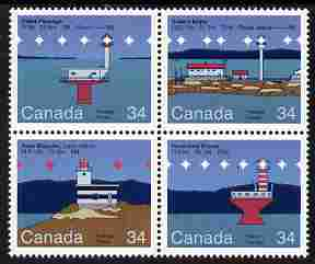 Canada 1986 Lighthouses - 2nd series se-tenant block of 4 unmounted mint, SG 1176-79