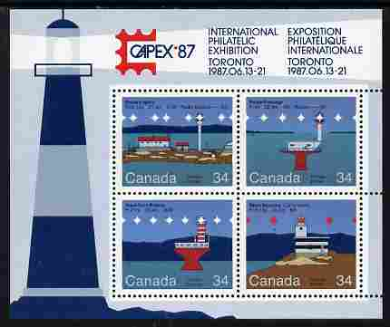 Canada 1986 Lighthouses - 2nd series perf m/sheet with Capex imprint unmounted mint, SG MS 1180