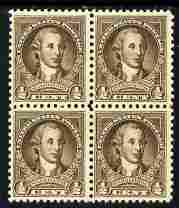 United States 1932 Washington 1/2c sepia block of 4 unmounted mint SG 704
