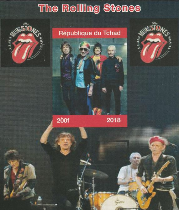 Chad 2018 Rolling Stones perf souvenir sheet unmounted mint. Note this item is privately produced and is offered purely on its thematic appeal.