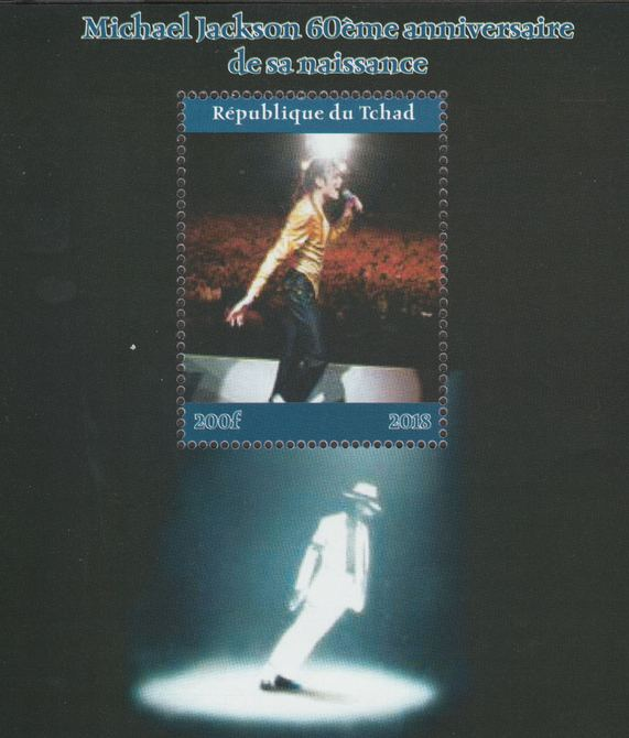 Chad 2018 Michael Jackson #1 perf souvenir sheet unmounted mint. Note this item is privately produced and is offered purely on its thematic appeal.