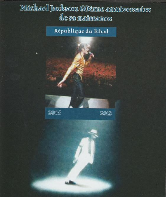 Chad 2018 Michael Jackson #1 imperf souvenir sheet unmounted mint. Note this item is privately produced and is offered purely on its thematic appeal.
