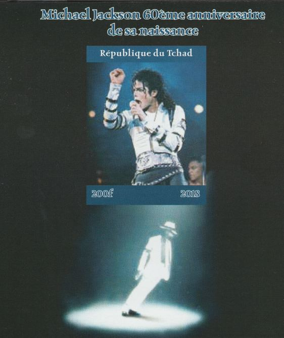 Chad 2018 Michael Jackson #2 imperf souvenir sheet unmounted mint. Note this item is privately produced and is offered purely on its thematic appeal.
