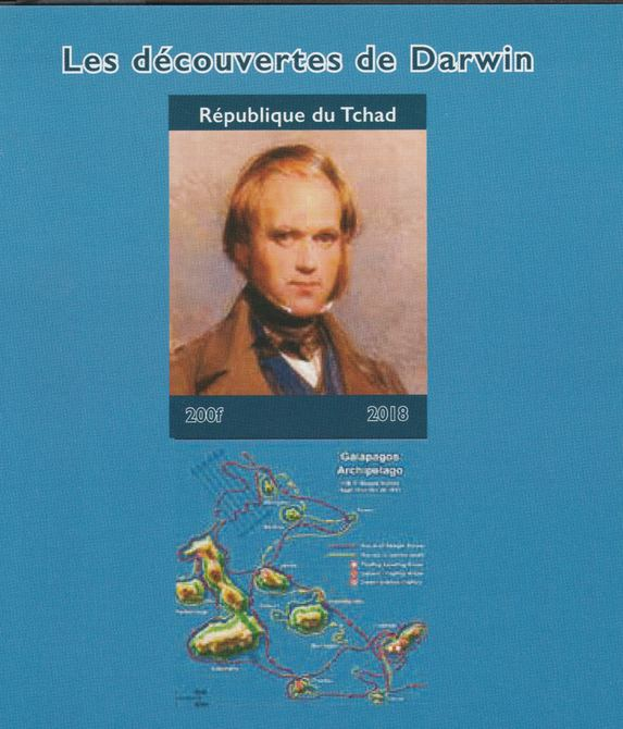 Chad 2018 Charles Darwin imperf souvenir sheet unmounted mint. Note this item is privately produced and is offered purely on its thematic appeal.