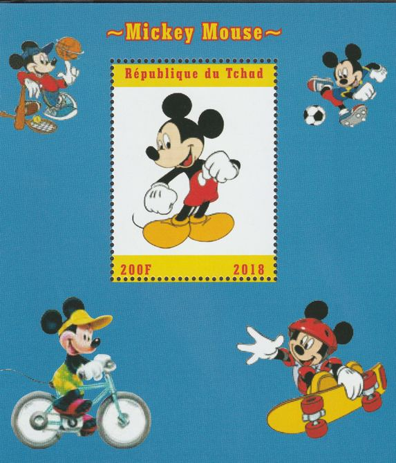 Chad 2018 Mickey Mouse perf souvenir sheet unmounted mint. Note this item is privately produced and is offered purely on its thematic appeal.