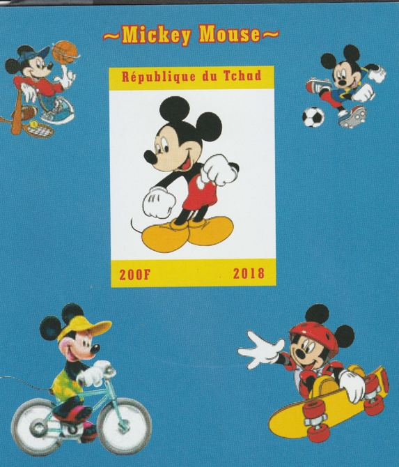 Chad 2018 Mickey Mouse imperf souvenir sheet unmounted mint. Note this item is privately produced and is offered purely on its thematic appeal.