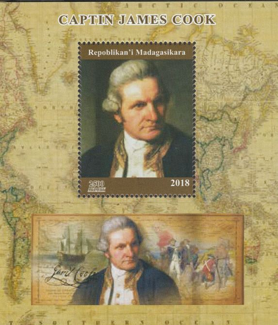 Madagascar 2018 Capt James Cook perf souvenir sheet unmounted mint. Note this item is privately produced and is offered purely on its thematic appeal.