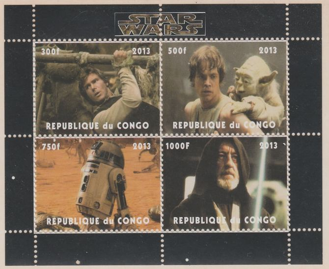 Congo 2013 Star Wars perf sheetlet containing 4 values unmounted mint. Note this item is privately produced and is offered purely on its thematic appeal, it has no postal validity
