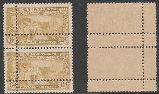 Bahamas 1948 Tercentenary 1.5d vertical pair with perforations doubled, unmounted mint as SG 180var. Note: the stamps are genuine but the additional perfs are a slightly different gauge identifying it to be a forgery.