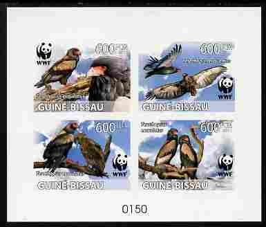 Guinea - Bissau 2011 WWF - Bateleur Eagle imperf deluxe sheetlet containing 4 values on thin card