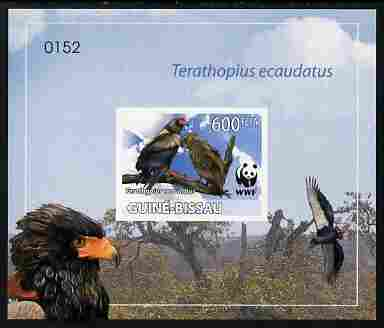 Guinea - Bissau 2011 WWF - Bateleur Eagle imperf individual deluxe s/sheet #1 on thin card