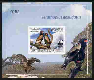 Guinea - Bissau 2011 WWF - Bateleur Eagle imperf individual deluxe s/sheet #2 on thin card