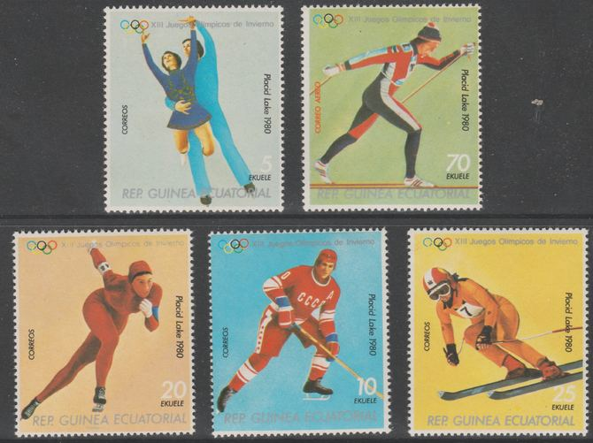 Equatorial Guinea 1978 Lake Placid Olympic Winter Games perf set of 5 unmounted mint Mi 1308-1312