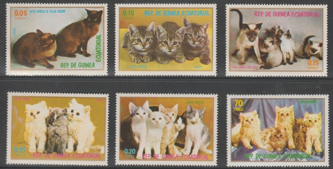 Equatorial Guinea 1976 Domestic Cats perf set of 6 (ex 15c Air) unmounted mint Mi 1016-1020 & 1022