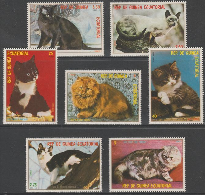 Equatorial Guinea 1978 Domestic Cats perf set of 7 unmounted mint Mi 1394-1400