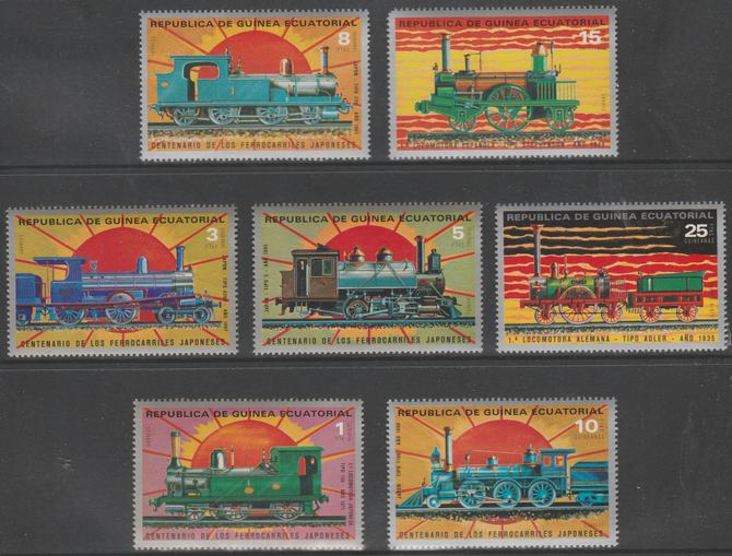 Equatorial Guinea 1972 Japanese Trains Centenary perf set of 7 unmounted mint Mi 1147-1153