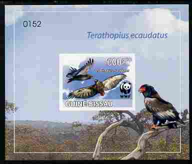 Guinea - Bissau 2011 WWF - Bateleur Eagle imperf individual deluxe s/sheet #3 on thin card