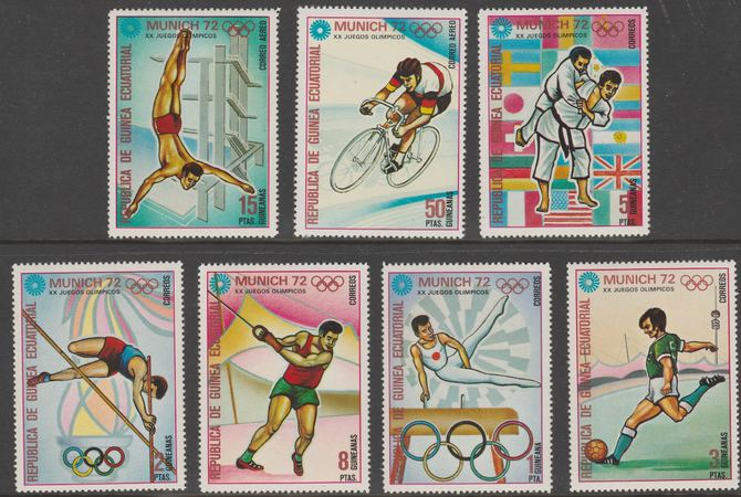 Equatorial Guinea 1972 Munich Olympics (4th series) perf set of 7 values unmounted mint, Mi 108-114