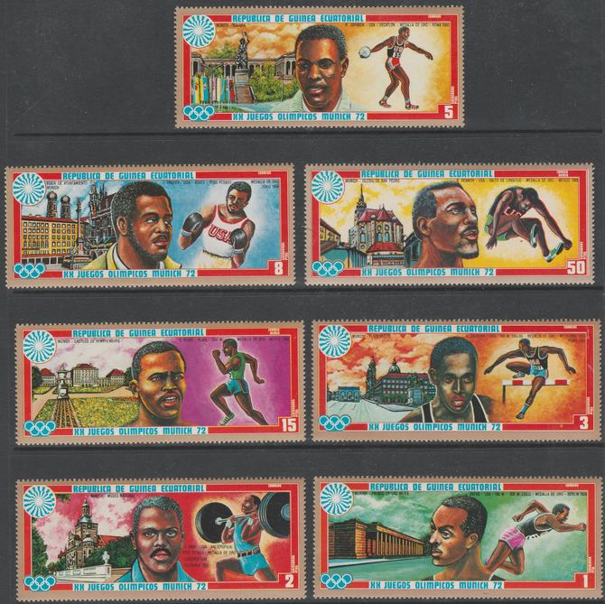 Equatorial Guinea 1972 Munich Olympics (3rd series) perf set of 7 values unmounted mint, Mi 81-87