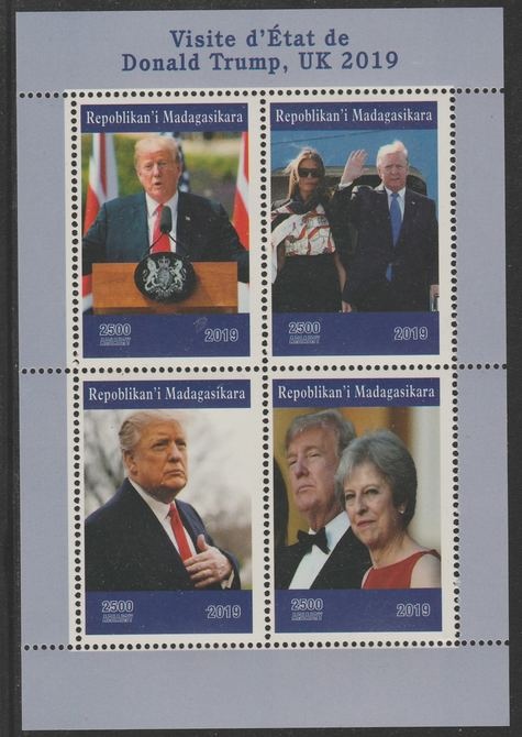 Madagascar 2019 Donald Trump's visit to UK perf sheet containing 4 values unmounted mint.