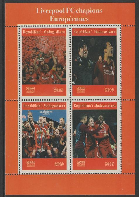Madagascar 2019 Liverpool European Football Champions perf sheet containing 4 values unmounted mint. , stamps on football