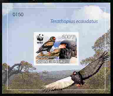 Guinea - Bissau 2011 WWF - Bateleur Eagle imperf individual deluxe s/sheet #4 on thin card