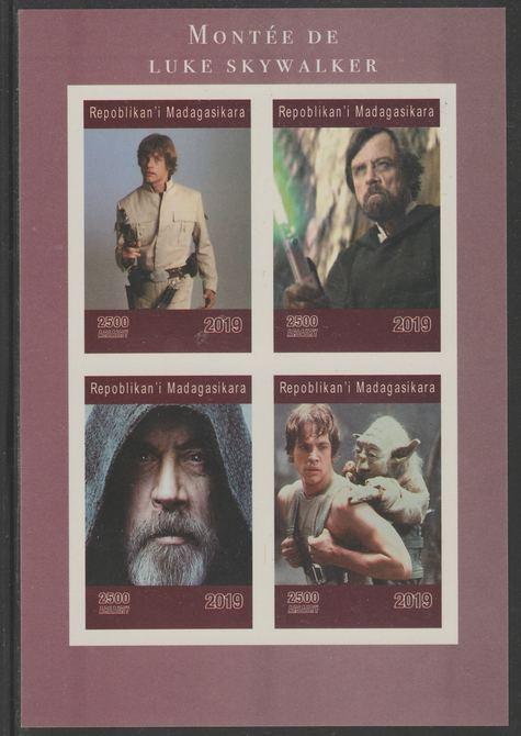 Madagascar 2019 Rise of Luke Skywalker imperf sheet containing 4 values unmounted mint.
