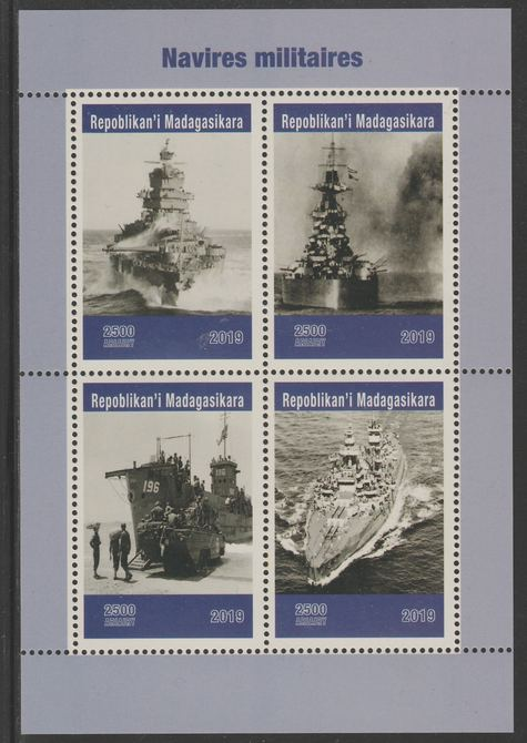 Madagascar 2019 Naval Ships perf sheet containing 4 values unmounted mint.