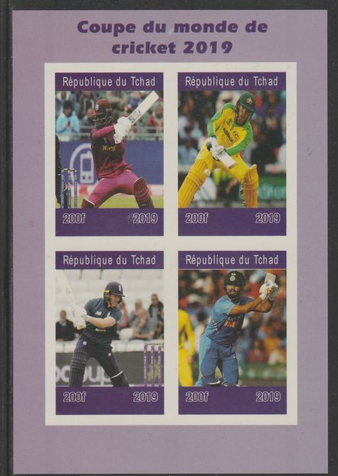 Chad 2019 Cricket World Cup imperf sheet containing 4 values unmounted mint.