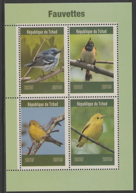 Chad 2019 Birds - Warblers perf sheet containing 4 values unmounted mint.