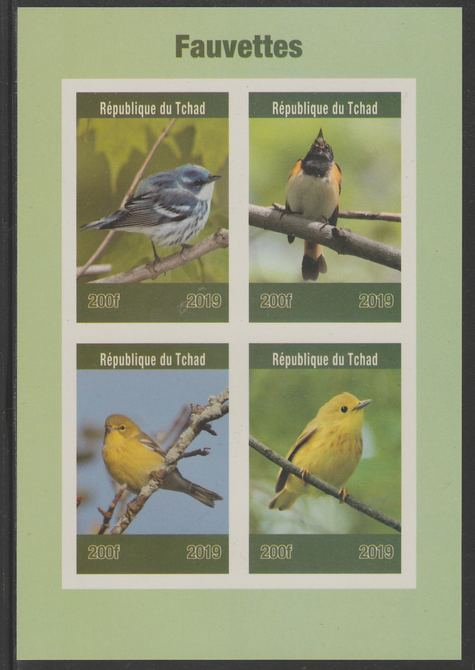 Chad 2019 Birds - Warblers imperf sheet containing 4 values unmounted mint.