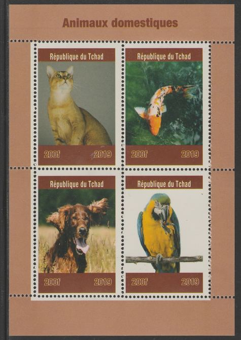 Chad 2019 Pets (Birds, Cats, Dogs) perf sheet containing 4 values unmounted mint.