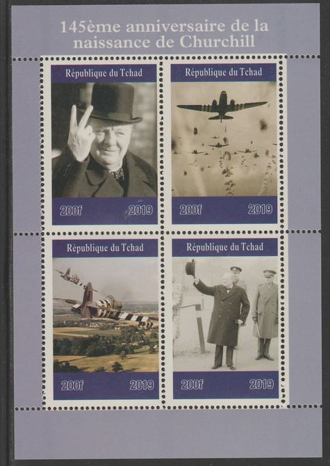 Chad 2019 145 Birth Anniversary of Winston Churchill perf sheet containing 4 values unmounted mint.