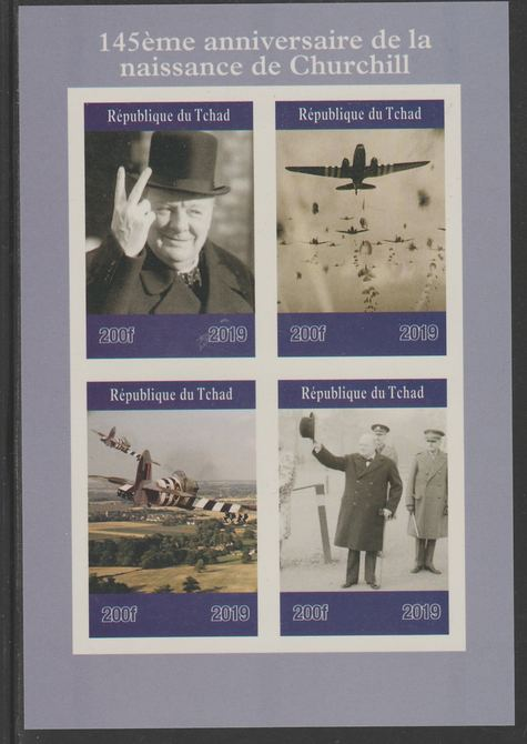 Chad 2019 145 Birth Anniversary of Winston Churchill imperf sheet containing 4 values unmounted mint.