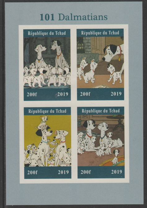 Chad 2019 101 Dalmations imperf sheet containing 4 values unmounted mint.